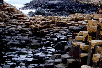 Different colours of the 38,000 basalt columns. These are the oldest rocks at the Causeway, around 60 million years.