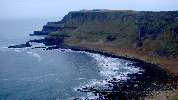 "From the top of the cliffs looking towards the ""organ pipes"""
